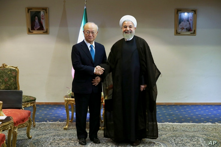 Iran's President Hassan Rouhani, right, shakes hands with the International Atomic Energy Agency's director-general, Yukiya Amano, as they pose for photos at the start of their meeting in Tehran, July 2, 2015.