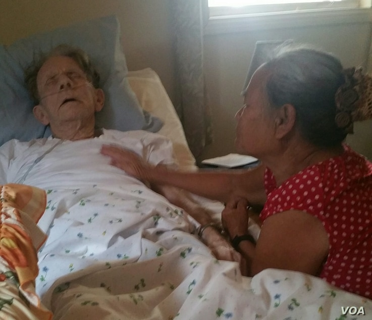 Huỳnh Thị Chút (right) takes care of Gary Wittig who was bedridden after a fall triggered a heart attack. They reunited in Atlanta, Georgia, 48 years after they first met in Đà Nẵng during the height of Vietnam War.