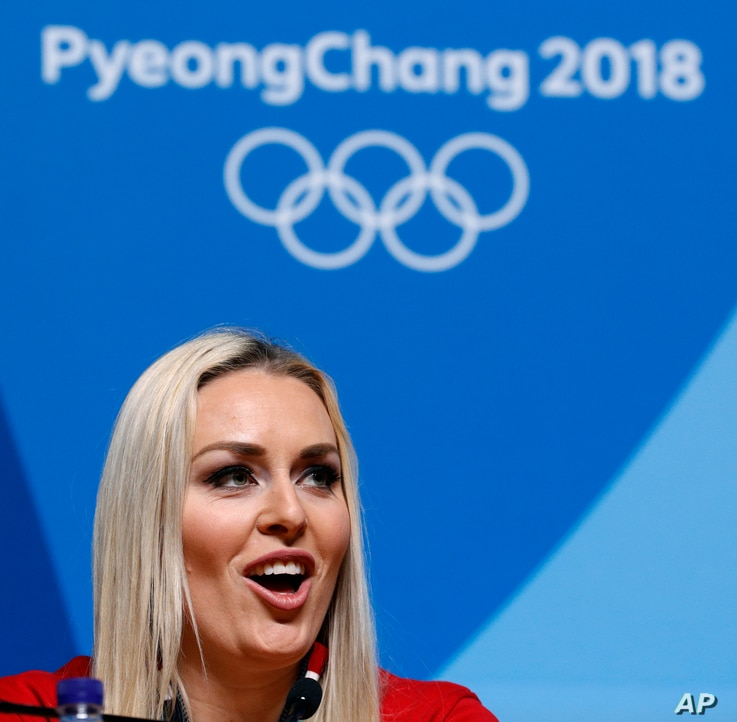 Alpine skier Lindsey Vonn of the United States talks to reporters during a news conference at the 2018 Winter Olympics in Pyeongchang, South Korea, Feb. 23, 2018.