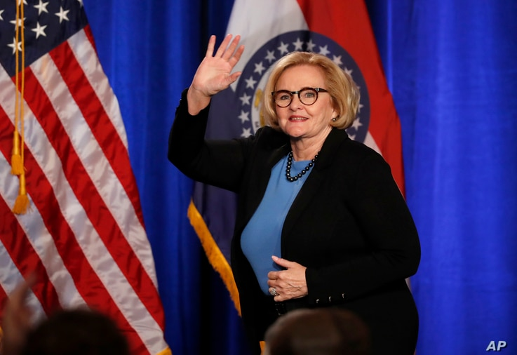 Sen. Claire McCaskill, D-Mo., steps on stage to deliver a concession speech in St. Louis, Missouri, Nov. 6, 2018.