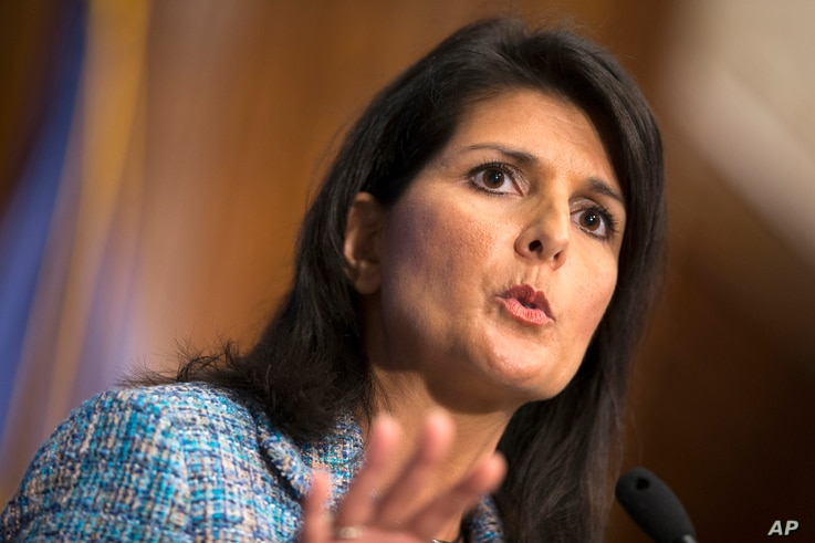 "FILE - South Carolina Gov. Nikki Haley, shown speaking at the National Press Club in Washington, Sept. 2, 2015, said in her party's response to the State of the Union address that no one who ""is willing to work hard, abide by our laws and love our ..."