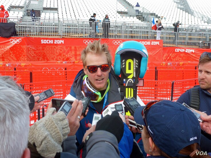 Giant Slalom gold medalist Ted Ligety of the US, Feb 19, 2014 (VOA - P. Brewer)