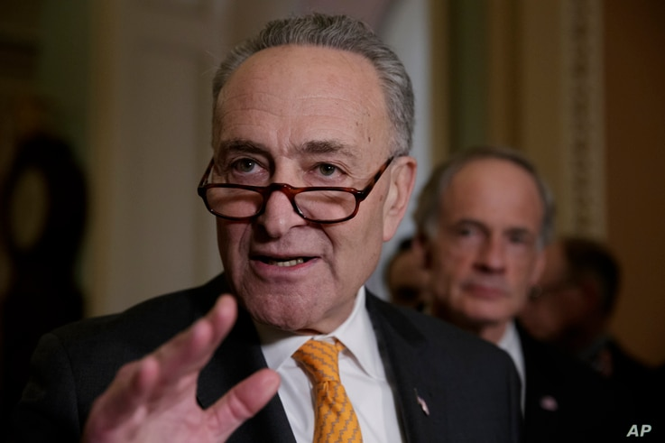 Senate Minority Leader Charles Schumer, a New York Democrat, speaks with reporters on Capitol Hill in Washington, March 28, 2017.