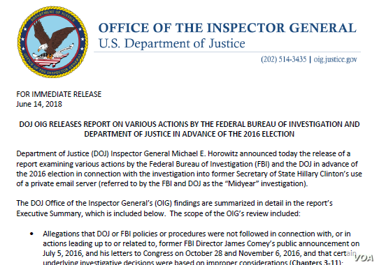 OIG Report: Clinton Emails, Former FBI Director Domey