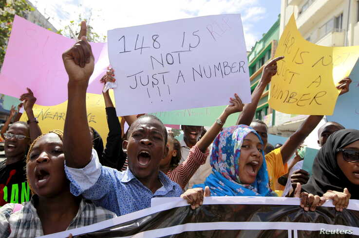 University students join a demonstration condemning the gunmen attack at the Garissa University campus, in the Kenyan coastal port city of Mombasa, April 8, 2015.