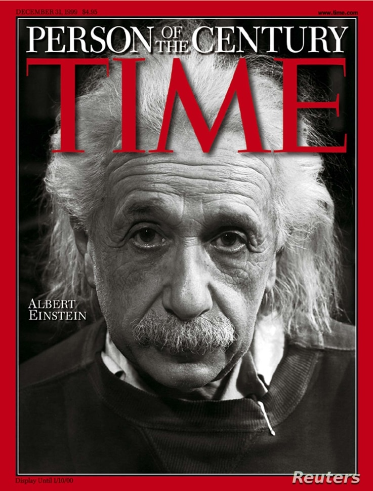 """Albert Einstein, whose theories on space, time and matter helped unravel the secrets of the atom and of the universe, was chosen as """"Person of the Century"""" by Time magazine on Dec. 26, 1999."""