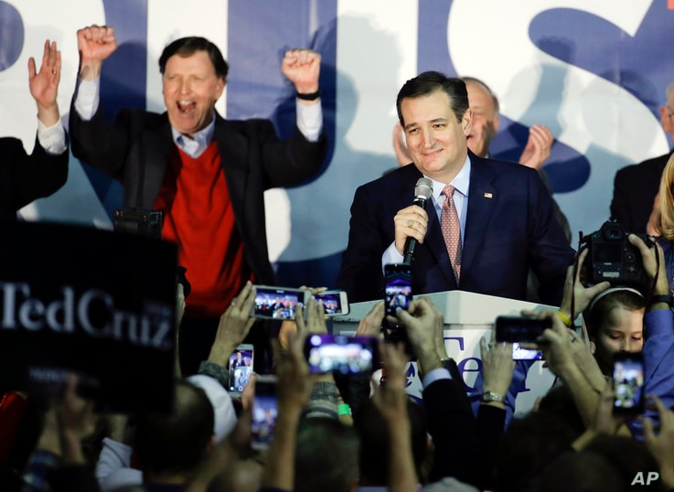 Republican presidential candidate Senator Ted Cruz of Texas speaks during a caucus night rally, in Des Moines, Iowa, Feb. 1, 2016.