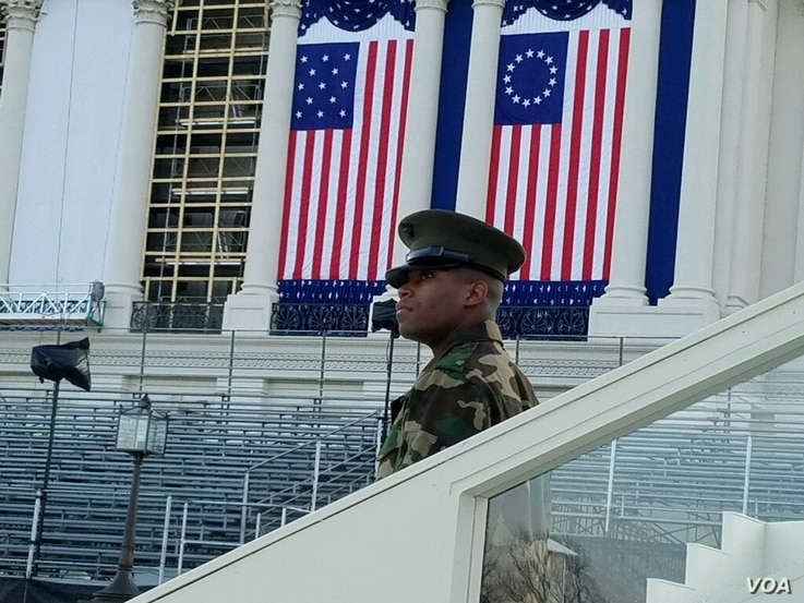 An officer in the military works as a stand-in during the full dress rehearsal of the inauguration (A. Arabasadi/VOA News)