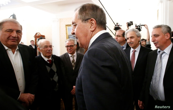 Russian Foreign Minister Sergei Lavrov arrives for a meeting with Syrian opposition representatives in Moscow, Jan. 27, 2017.