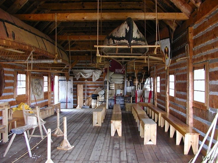 The canoe warehouse at Grand Portage National Monument houses several of the park's birch bark canoes.