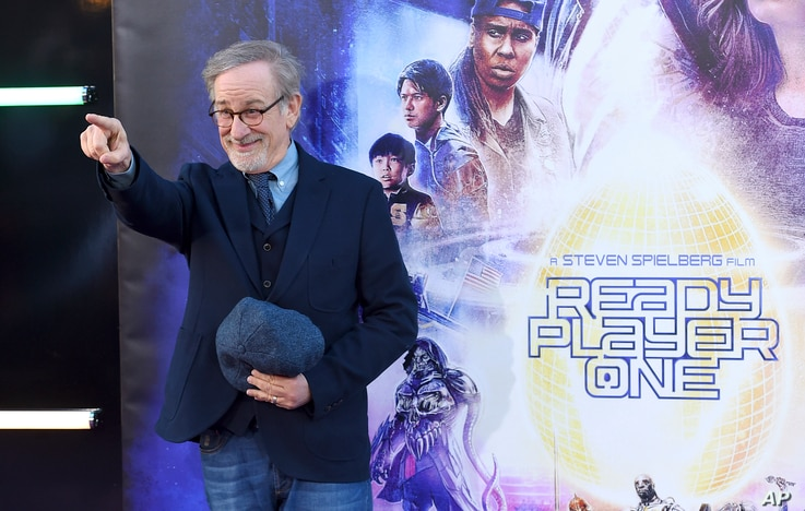 "Steven Spielberg arrives at the world premiere of ""Ready Player One"" at the Dolby Theatre on Monday, March 26, 2018, in Los Angeles."