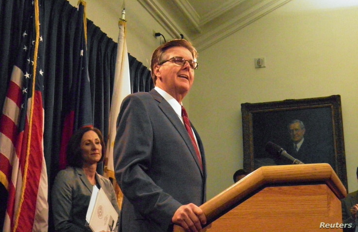 Texas Lieutenant Governor Dan Patrick speaks at a news conference on the introduction of a bill that would limit access to bathrooms and other facilities for transgender people at the State Capitol in Austin, Texas, Jan. 5, 2017.