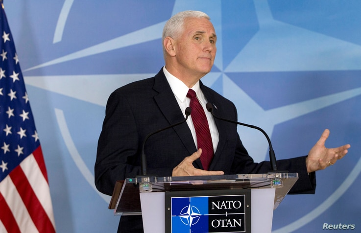 U.S. Vice President Mike Pence briefs the media during a meeting with NATO Secretary-General Jens Stoltenberg at the Alliance headquarters in Brussels, Belgium, Feb. 20, 2017.