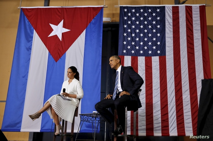 U.S. President Barack Obama attends a meeting with entrepreneurs as part of his three-day visit to Cuba, in Havana, March 21, 2016.