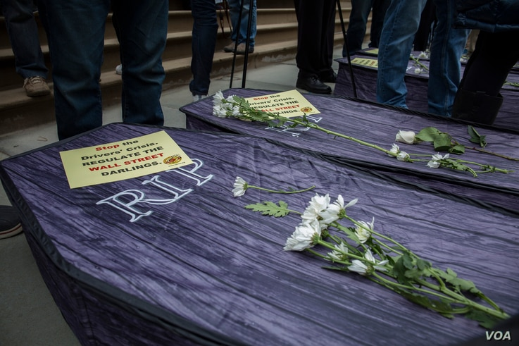 Four coffins were laid in front of New York's City Hall, representing the recent suicides of four professional drivers. (R. Taylor/VOA)