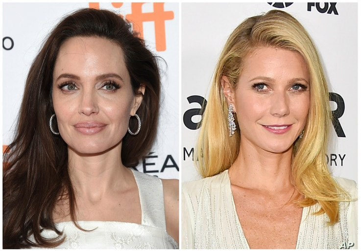 FILE - This combination photo shows actresses Angelina Jolie at the Toronto International Film Festival on Sept. 10, 2017, left, and Gwyneth Paltrow in Los Angeles on Oct. 29, 2015.