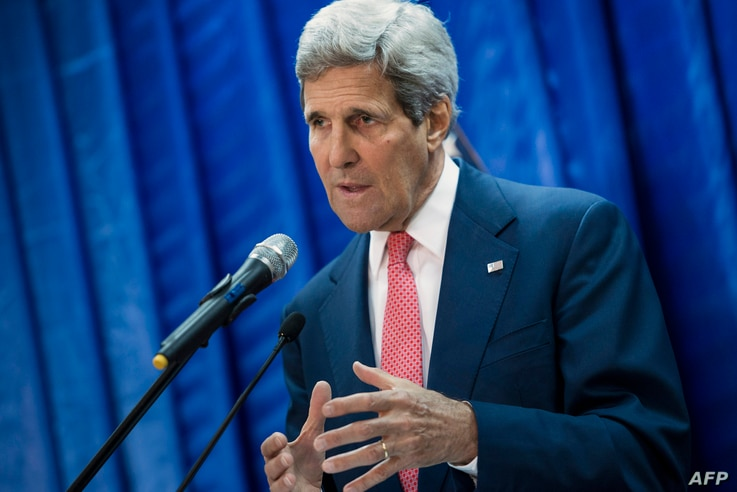 U.S. Secretary of State John Kerry speaks during a press conference at the U.S. Embassy in Baghdad, Iraq, Sept. 10, 2014.