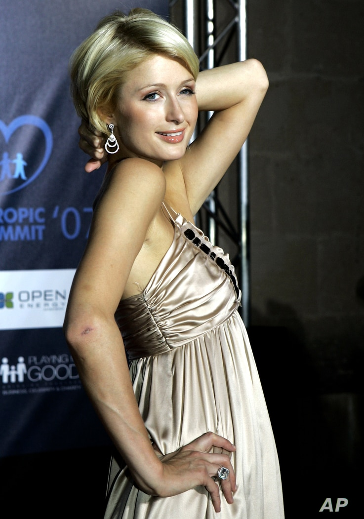 FILE - Paris Hilton is pictured Sept. 1 2007, in Palma, in the Mediterranean island of Mallorca, Spain. Hilton sued Hallmark Cards Inc. in U.S. District Court on Sept 7, 2007, seeking an injunction and unspecified damages to be determined at trial ov...