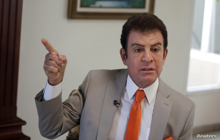 Salvador Nasralla, presidential candidate for the Opposition Alliance Against the Dictatorship, gestures as he speaks during an interview with Reuters at a hotel in Tegucigalpa, Honduras, Nov. 28, 2017.