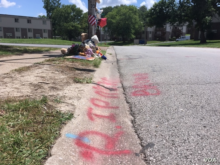 The location of Michael Brown's death on Canfield Drive in Ferguson, Missouri, is a now a makeshift memorial on the anniversary of the incident, August 11, 2015. (Victoria Macchi/VOA)
