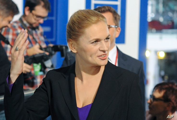 Barbara Nowacka, leader of the United Left, arrives for a TV debate with leaders of all parties, in Warsaw, Poland, October 20, 2015.