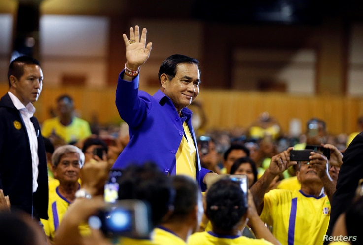 "Thailand's Prime Minister Prayut Chan-o-cha arrives  to deliver a keynote speech at the opening ceremony of ""National Fund to Reduce Inequalities"" ahead of the general election, in Bangkok, Thailand, March 18, 2019."
