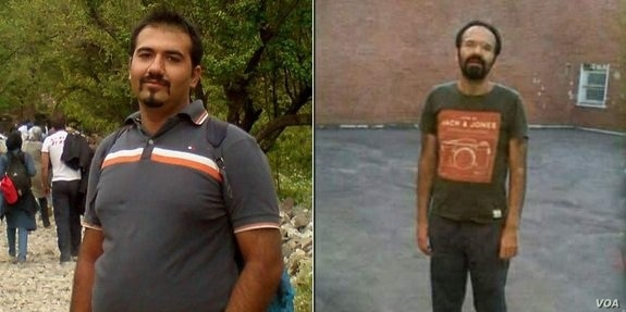 Iranian citizen-journalist Soheil Arabi, seen before and after his imprisonment in Iran, in November 2013.