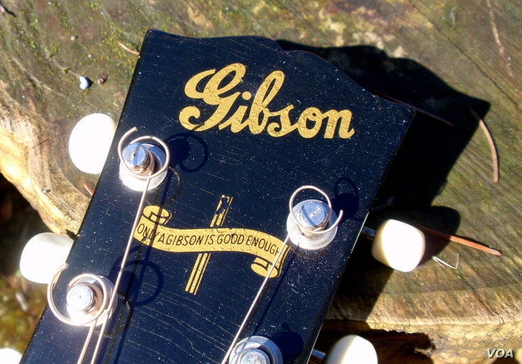 This banner logo appeared on the headstock of Gibson guitars only during World War II when women workers replaced the men who'd gone off to war. (VOA/T. Banse)