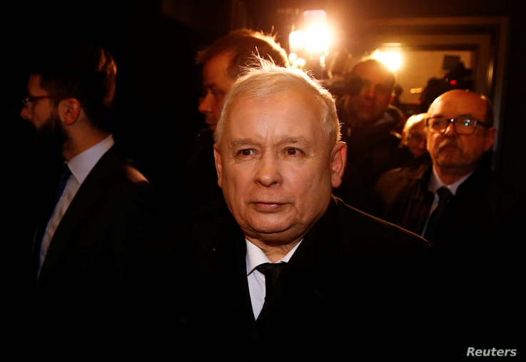 Jaroslaw Kaczynski, leader of the ruling party Law and Justice (PiS) leaves after his meeting with German Chancellor Angela Merkel in Warsaw, Feb. 7, 2017.