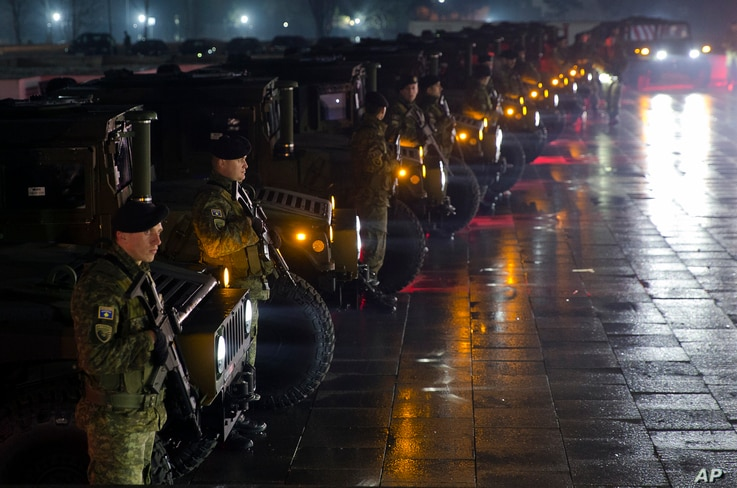 Soldiers of the Kosovo Security Force are pictured in Pristina, Dec. 14, 2018. Kosovo's parliament convened on Friday to approve the formation of an army, a move that has angered Serbia, which says it would threaten peace in the war-scarred region.