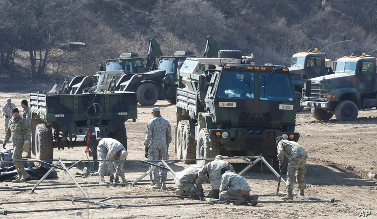 U.S. Army soldiers prepare for military exercises near the North Korea border in Paju, South Korea, March 6, 2017.
