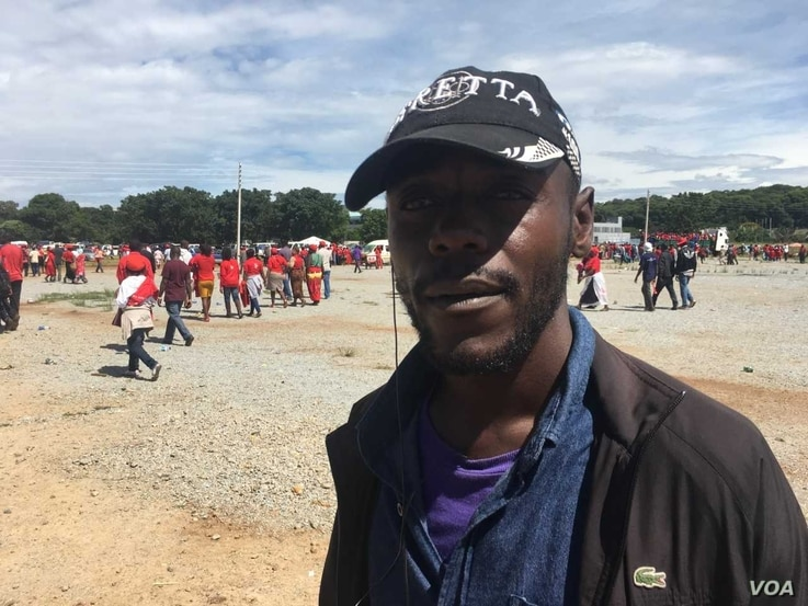 Chaimani Mataka, 37, says his Movement for Democratic Change (MDC) must unite to unseat the ruling ZANU-PF party in this year's Zimbabwe elections, Feb. 19, 2018.