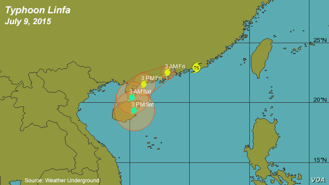Typhoon Linfa, weather prediction map as of July 9, 2015