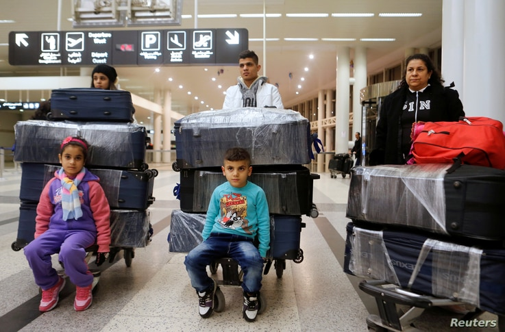 The al-Qassab family, Iraqi Christian refugees from Mosul, at Beirut international airport ahead of their travel to the United States, Lebanon February 8, 2017.