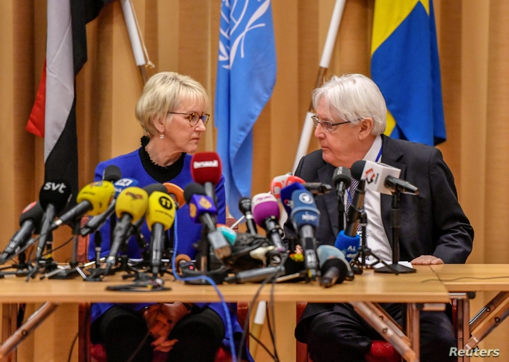 Swedish Foreign Minister Margot Wallstrom and U.N. envoy to Yemen Martin Griffiths attend the opening press conference on U.N.-sponsored peace talks for Yemen at Johannesberg castle, in Rimbo, Sweden, Dec. 6, 2018.