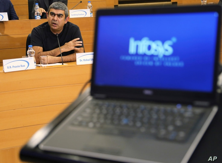 FILE - Infosys Chief Executive Officer and Managing Director Vishal Sikka speaks during a press conference after announcing the company's quarterly financial results at its headquarters in Bangalore, India, July 15, 2016.