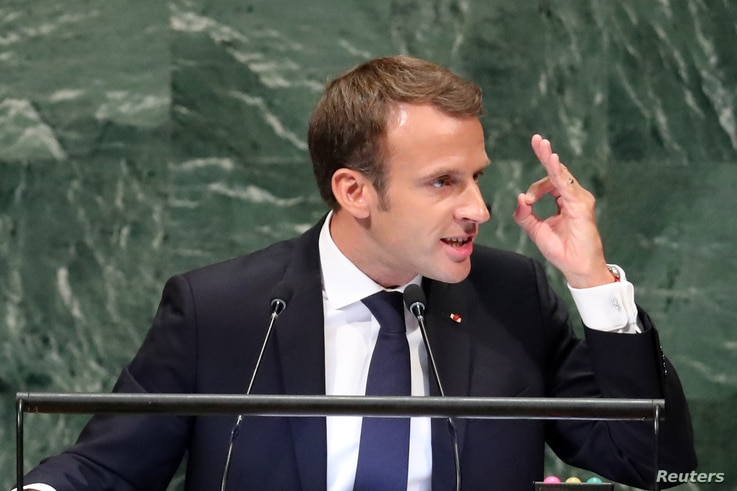 France's President Emmanuel Macron addresses the 73rd session of the United Nations General Assembly at U.N. headquarters in New York, Sept. 25, 2018.