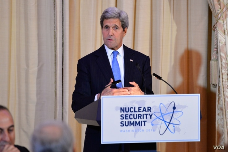 U.S. Secretary of State John Kerry delivers remarks at a working dinner that he co-hosted with U.S. Energy Secretary Dr. Ernest Moniz for the 2016 Nuclear Security Summit at the U.S. Department of State in Washington, D.C., on March 31, 2016.
