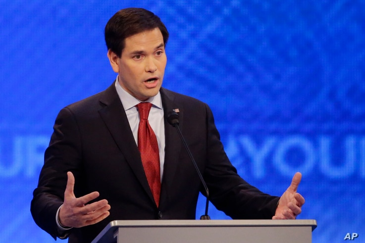 Republican presidential candidate Sen. Marco Rubio  answers a question