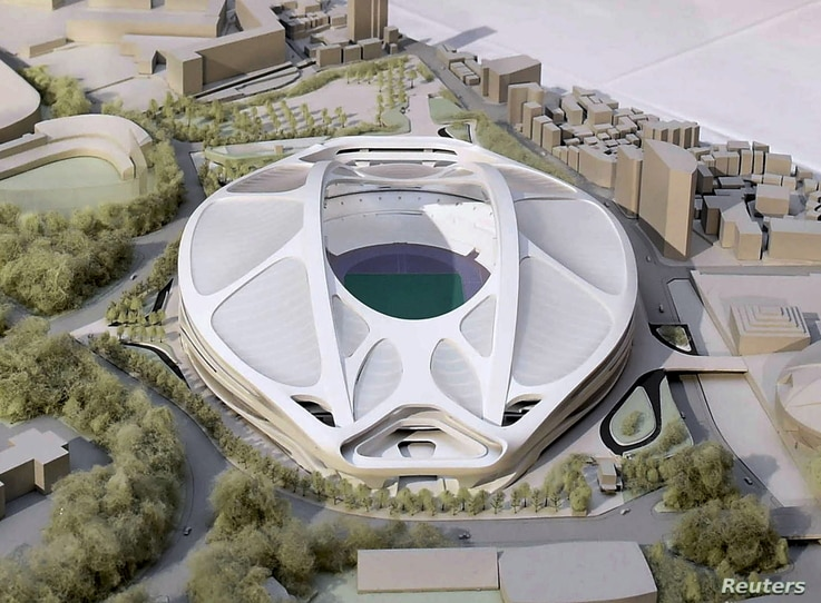 FILE - A rendering model of the new National Stadium for 2020 Tokyo Olympics and Paralympics, designed by Iraqi-British architect Zaha Hadid, is displayed at a meeting of members of the advisory council on the construction of the new stadium, in Toky...