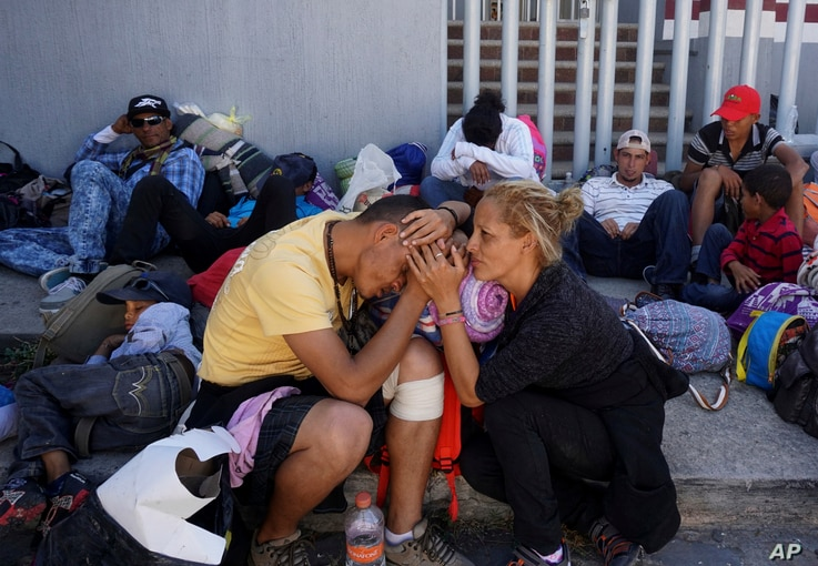 Central American migrants who attended the annual Migrants Stations of the Cross caravan for migrants' rights, rest at a shelter in Tlaquepaque, Jalisco state, Mexico, April 18, 2018.