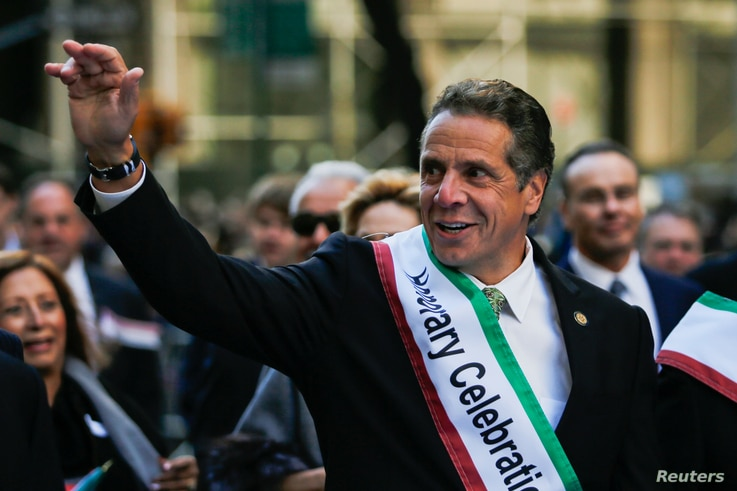 FILE - New York Governor Andrew Cuomo takes part in the 72nd Annual Columbus Day Parade in New York, Oct. 10, 2016.