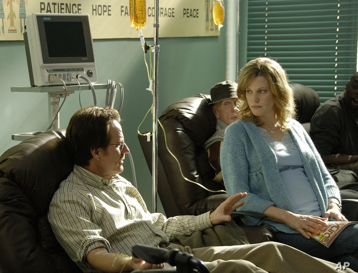 """Walter White, played by Bryan Cranston, and his wife Skyler White, played by Anna Gunn, during Walt's chemotherapy treatment during the first season of """"Breaking Bad."""""""