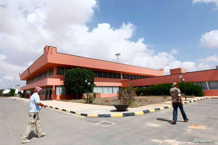 FILE - An exterior view of the departure lounge at the airport in Sirte, Sept. 29, 2011.