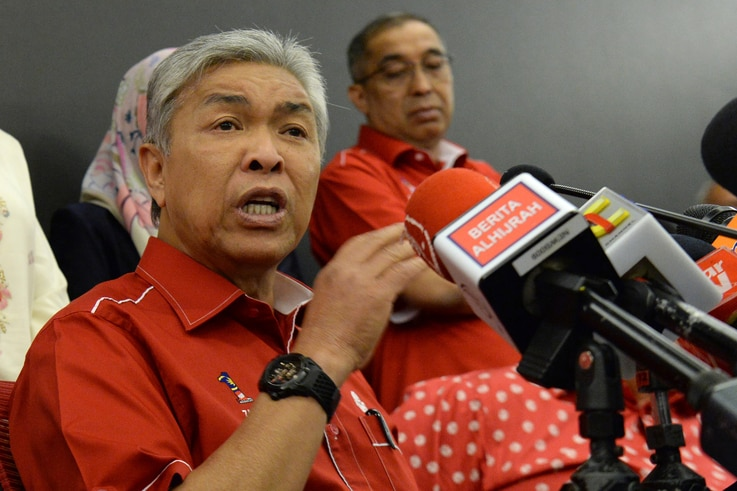 Ahmad Zahid Hamidi, Malaysia's former deputy prime minister and then-acting president of the United Malays National Organisation, speaks to reporters during a press conference in Kuala Lumpur, May 14, 2018. Ahmad Zahid was formally made party leader