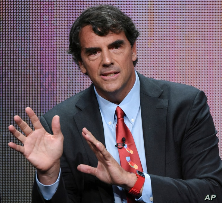 "FILE - Tim Draper, a prominent venture capitalist in Silicon Valley, participates in the ""Startup U"" panel at the Disney/ABC Summer Television Critics Association Tour in Beverly Hills, Calif., Aug. 5, 2015."