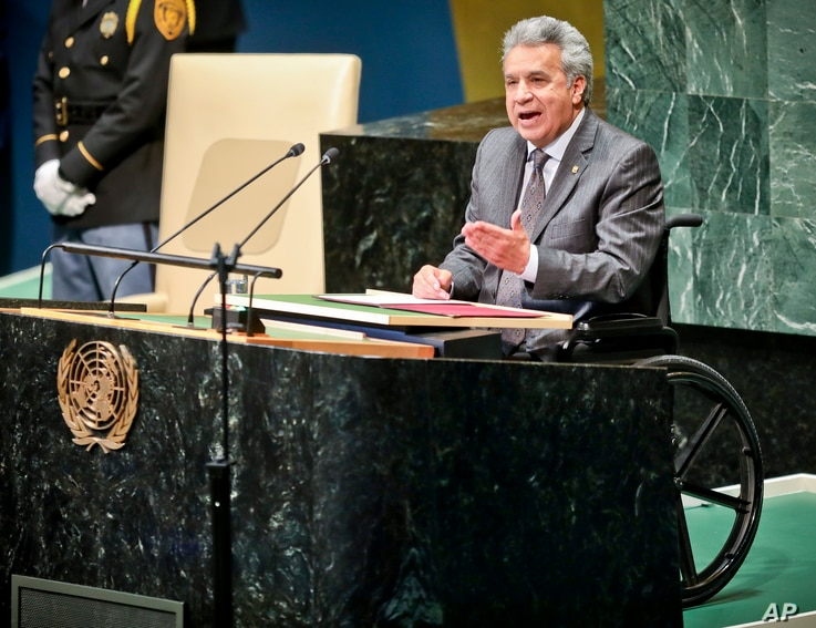 Ecuador's President Lenin Moreno Garcés, address the United Nations General Assembly, Sept. 25, 2018 at U.N. headquarters.
