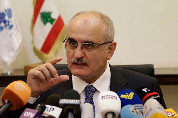 FILE - Lebanese Finance Minister Ali Hassan Khalil speaks during a press conference in Beirut, Lebanon, Thursday, March 30, 2017.