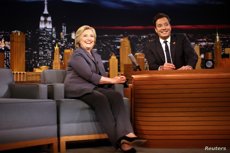 Tonight Show Jimmy Fallon is seen duringa recording of one of his shows in New York City, Sept. 16, 2017. Fallon, too, has taken on politicians during his show but is seen as softer compared to soem of his competitors.