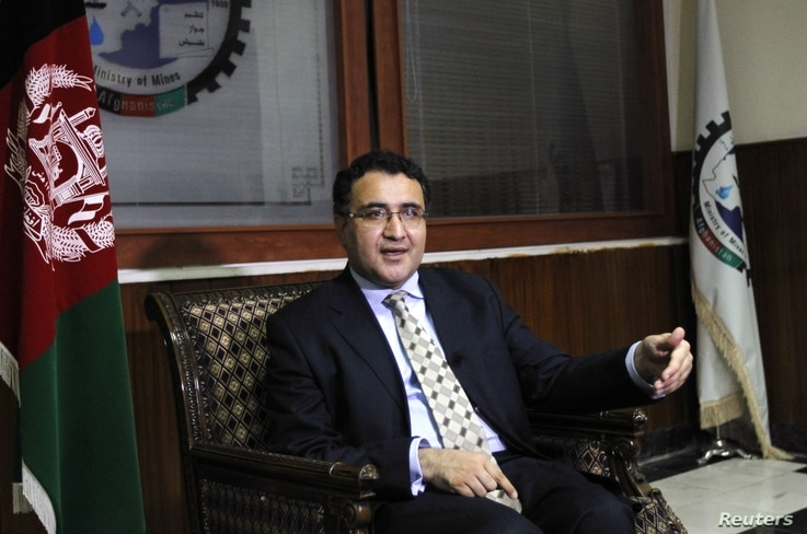 Afghanistan Mining Minister Wahidullah Shahrani announcing Exxon Mobil officials opted out of a mining-site tour in the north, Kabul, Sept. 29, 2012.